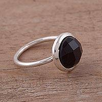Obsidian single stone ring, 'Magic Pulse' - Obsidian and Sterling Silver Single Stone Ring from Peru