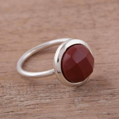Jasper and Sterling Silver Single Stone Ring from Peru