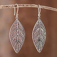 Sterling silver filigree dangle earrings Mystery of the Forest (Peru)