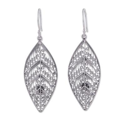 Handcrafted Sterling Silver Filigree Leaf Earrings from Peru