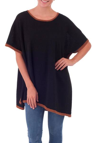 Alpaca blend poncho, 'Basic Style' - Knit Black and Brown Alpaca Blend Poncho from Peru