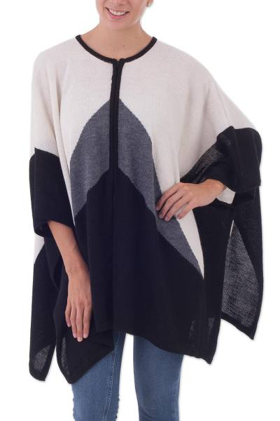 Alpaca blend poncho, 'Perfect Symmetry' - Knit Black Grey and White Poncho with Zipper