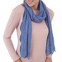100% baby alpaca scarf, 'Style and Harmony in Cerulean' - Knit 100% Baby Alpaca Wrap Scarf in Cerulean from Peru