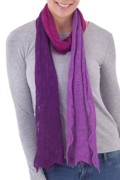 100% baby alpaca scarf, 'Colonial Fashion in Purple' - Knit 100% Baby Alpaca Wrap Scarf in Purple from Peru