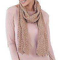 100% baby alpaca scarf, 'Mountain Range' - Knit 100% Alpaca Wrap Scarf in Ivory and Tan from Peru