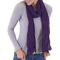 100% baby alpaca scarf, 'Luxurious Andes in Aubergine' - Wavy 100% Alpaca Wrap Scarf in Aubergine from Peru