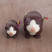 Ceramic figurines, 'Guinea Pig Family in Chestnut' (pair) - Two Ceramic Guinea Pig Figurines in Chestnut from Peru