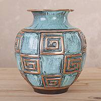 Copper and bronze decorative vase, 'Ancient Spirals' - Copper and Bronze Spiral Motif Decorative Vase from Peru
