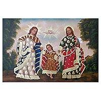 'Sacred Family in Paradise' - Surrealist Painting of Jesus Mary and Joseph from Peru