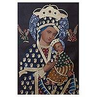 'Virgin of Perpetual Help' - Religious Surrealist Painting of Jesus and Mary from Peru