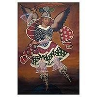 'Archangel Saint Michael' - Religious Surrealist Painting of Saint Michael from Peru