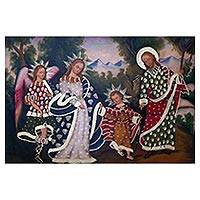 'Sacred Family with Guardian Angel' - Traditional Painting of the Sacred Family from Peru