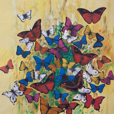 Colorful Modern Painting of Butterflies from Peru