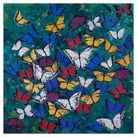 'Melodies and Colors' (2017) - Signed Painting of Colorful Butterflies from Peru