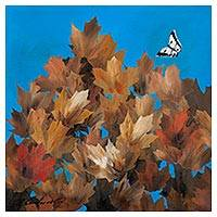 'Maples in Autumn' (2017) - Signed Painting of Maple Leaves and a Butterfly from Peru