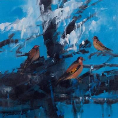 'Goldfinches at Dawn' (2017) - Signed Modern Painting of Goldfinches from Peru