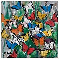 'Fantasies of Spring' (2017) - Freestyle Painting of Colorful Butterflies from Peru
