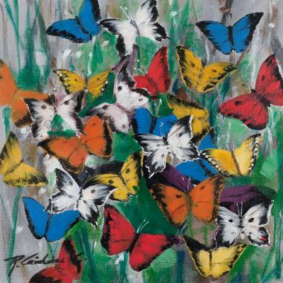 Freestyle Painting of Colorful Butterflies from Peru