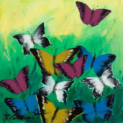 Signed Freestyle Painting of Butterflies from Peru