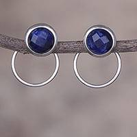 Sodalite drop earrings, 'Sweet Rings' - Natural Sodalite and Sterling Silver Drop Earrings from Peru