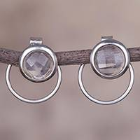 Quartz drop earrings, 'Sweet Rings' - Natural Quartz and Sterling Silver Drop Earrings from Peru