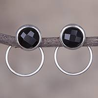 Obsidian drop earrings, 'Sweet Rings' - Natural Obsidian and Sterling Silver Drop Earrings from Peru