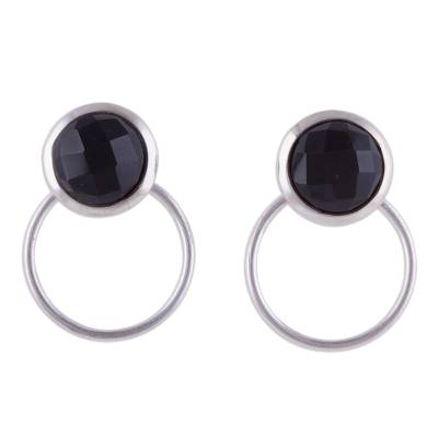 Natural Obsidian and Sterling Silver Drop Earrings from Peru