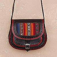Wool accent leather sling bag,
