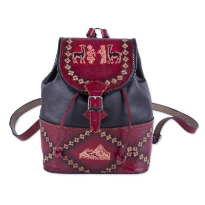 Handcrafted Crimson and Black Leather Backpack from Peru