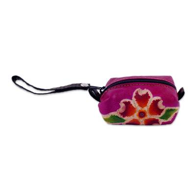 Leather mini wristlet, 'Passionate Flower' - Handcrafted Floral Leather Mini Wristlet in Cerise