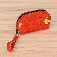 Suede wristlet, 'Butterfly Flutter' - Handmade Suede Wristlet with Butterfly Designs from Peru