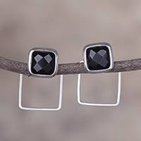 Obsidian drop earrings, 'Sweet Squares' - Natural Square Obsidian and Silver Drop Earrings from Peru