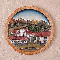 Cedar wood relief panel, 'Sun in the Village' - Handcrafted Cedar Wood Wall Relief Panel from Peru