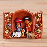 Ceramic decorative accent, 'Andean Jubilee' - Handcrafted Painted Ceramic Nativity Scene from Peru