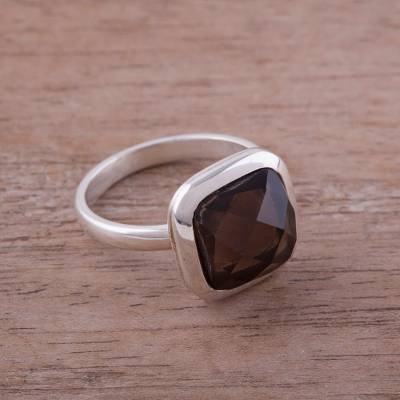 Square Smoky Quartz and Silver Cocktail Ring from Peru