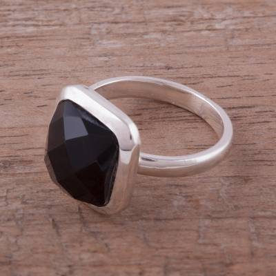 Obsidian cocktail ring, 'Beautiful Soul' - Square Obsidian and Sterling Silver Cocktail Ring from Peru
