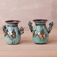 Copper and bronze decorative vases, 'Chancay Warriors' (pair) - Two Copper and Bronze Chancay Decorative Vases from Peru