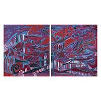 'Under the Red Sky' (diptych, 2016) - Signed Expressionist Blue and Red Diptych Painting from Peru