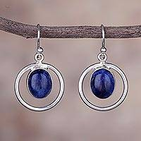 Sodalite dangle earrings, 'Beautiful Athena' - Circular Sodalite and Silver Dangle Earrings from Peru
