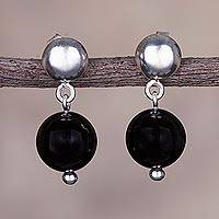 Obsidian dangle earrings, 'Elysian Spheres' - Obsidian and Sterling Silver Dangle Earrings from Peru
