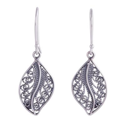 Sterling Silver Filigree Leaf Dangle Earrings from Peru