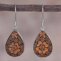 Sterling silver dangle earrings, 'Margarita Garden' - Floral Sterling Silver and Pumpkin Shell Earrings from Peru