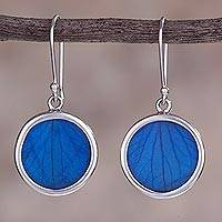 Hydrangea leaf dangle earrings, 'Blue Eden' - Sterling Silver and Natural Leaf Earrings in Blue from Peru