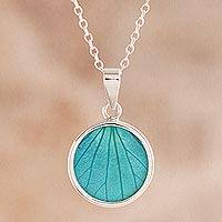 Hydrangea leaf pendant necklace, 'Atlantis Leaf' - Sterling Silver and Natural Leaf Pendant Necklace from Peru