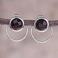 Smoky quartz drop earrings, 'Sweet Rings' - Smoky Quartz and Sterling Silver Drop Earrings from Peru