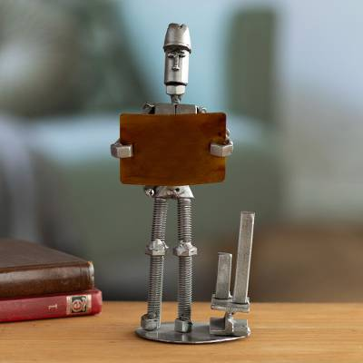 Auto part sculpture, 'Engineer' - Upcycled Auto Part Sculpture of an Engineer from Peru