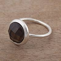 Smoky quartz cocktail ring, 'Twilight Hour' - Circular Smoky Quartz and Silver Cocktail Ring from Peru