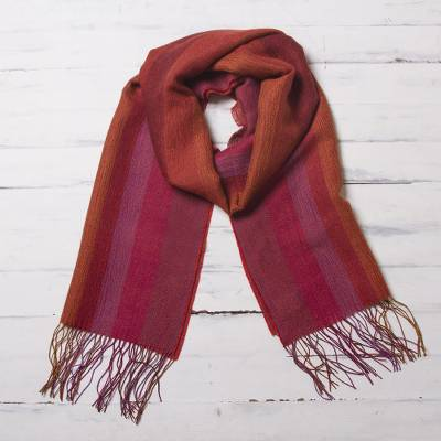 Baby alpaca blend scarf, 'Blazing Trails' - Warm Red-Orange Baby Alpaca and Pima Cotton Scarf