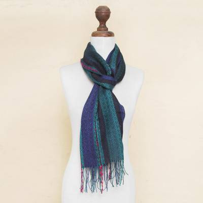 Baby alpaca blend scarf, 'Journey to Puno' - Woven Striped Scarf in Baby Alpaca and Pima Blend