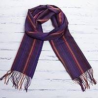 Baby alpaca blend scarf, 'Puno Plum Stripe' - Striped Baby Alpaca and Cotton Blend Scarf in Plum